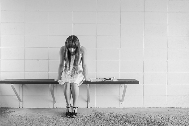 Girl with Anxiety on Benchl