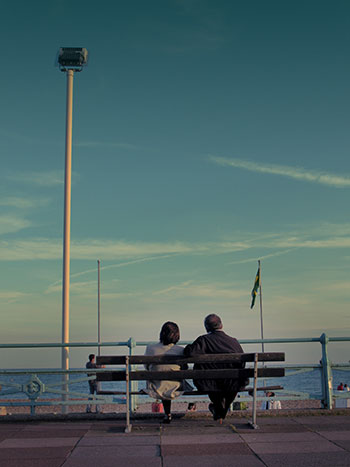 married couple on bench